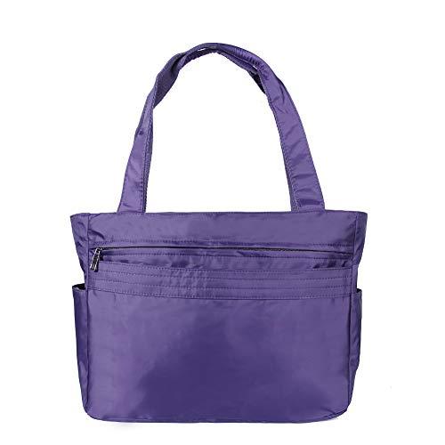 Bag Purpose - TENXITER Women Fashion Large Tote Shoulder Handbag Waterproof Tote Bag Multi-function Nylon Travel Shoulder (Purple)