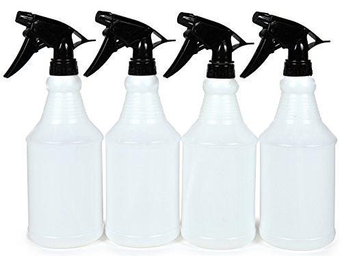 Vivaplex, 4, Large, 24 oz, Sturdy, Empty, Plastic Spray Bottles, with Black Trigger Sprayers