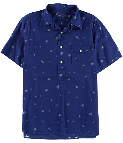 RALPH LAUREN Mens Americana Woven Printed Casual Shirt Navy M