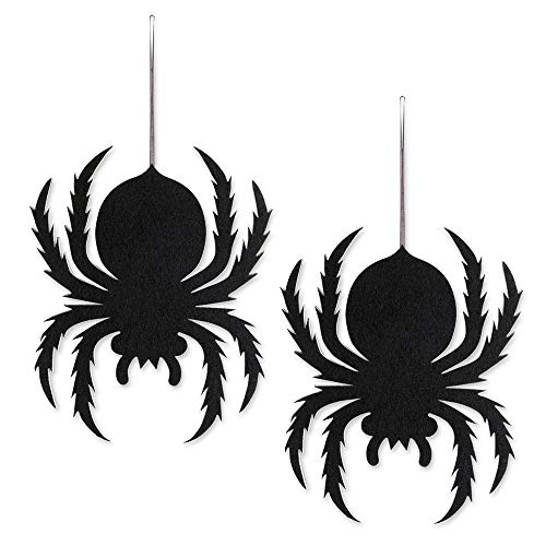 Rely2016 Halloween Hanging Decorations, Non-woven Wall Door Hanging Decorative Signs Ornaments Halloween Party Haunted House Home Patio Lawn Garden Yard (2 PACK Spider)]()