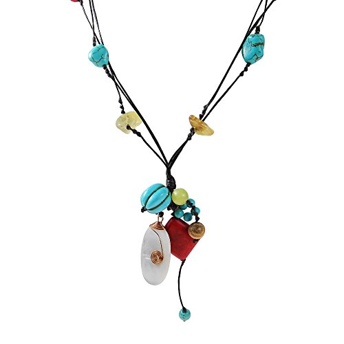 (AeraVida Multicolor Simulated Turquoise-Reconstructed Red Coral-Mother of Pearl Shell Copper Wrap Necklace)