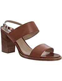 Max Mara Womens Tan Leather Sandal Heels - 3.5 Inch Heels - Comfortable and Supportive