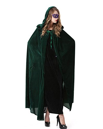 Dolores Halloween Velvet Cloak Medieval Style Hooded Cape Cosplay Costume Masquerade Ball Fancy (Witch King Cosplay Costume)