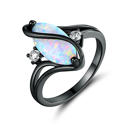 Barzel Rose Gold & White Gold Plated White Fire Opal Created & Cubic Zirconia Accents Ring (Black Rhodium Fire Opal, 7)