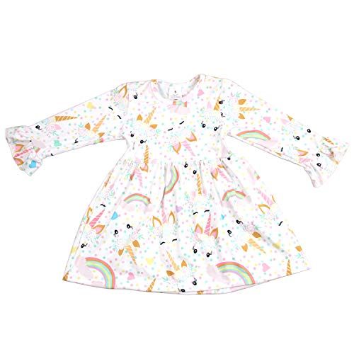 Baby Girls Boutique Clothing Set Unicorn Rainbow Long Sleeve Ruffle Dress Birthday Party Floral Toddler Girl Dress 4T -