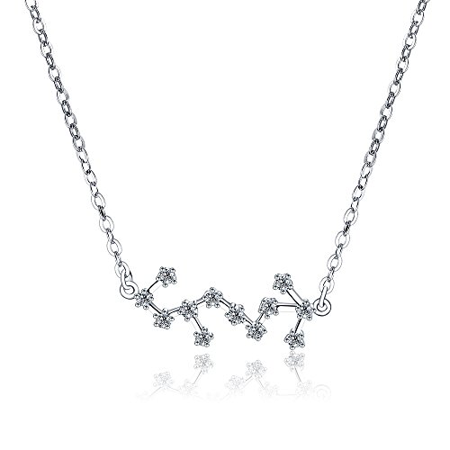 (H.ZBRUJ Choker Scorpio Zodiac Jewelry Sign Necklace Horoscope Astrology Constellation Pendant 925 Sterling Silver for Women Birthday Anniversary Thanksgiving Christmas Valentine's Day or Mother's Day)