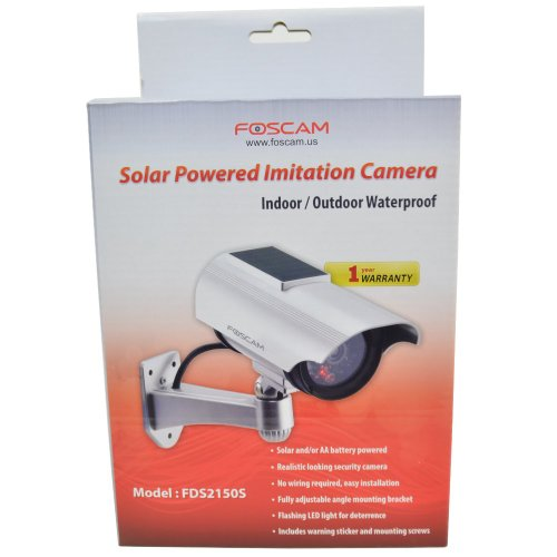 Foscam FDS2150S Solar Powered Outdoor Dummy Camera - With Red Blinking Light - Silver