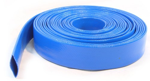 Inside 2'' 50mm 33Ft Layflat PVC Water Delivery Hose Discharge Pipe Pump Irrigation Blue Fire Tubing by SM HOSE