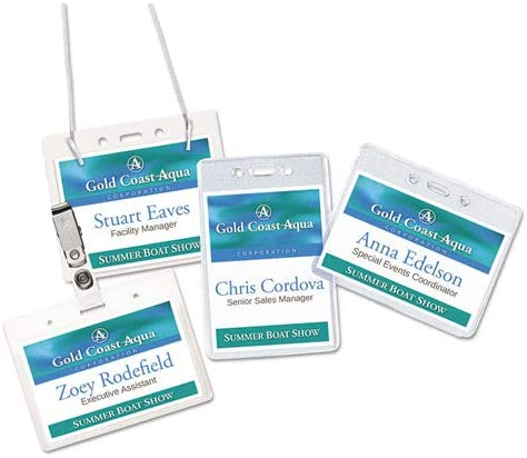 100//Box Horizontal Clear 4w x 3h Secure Top Hanging-Style Badge Holders