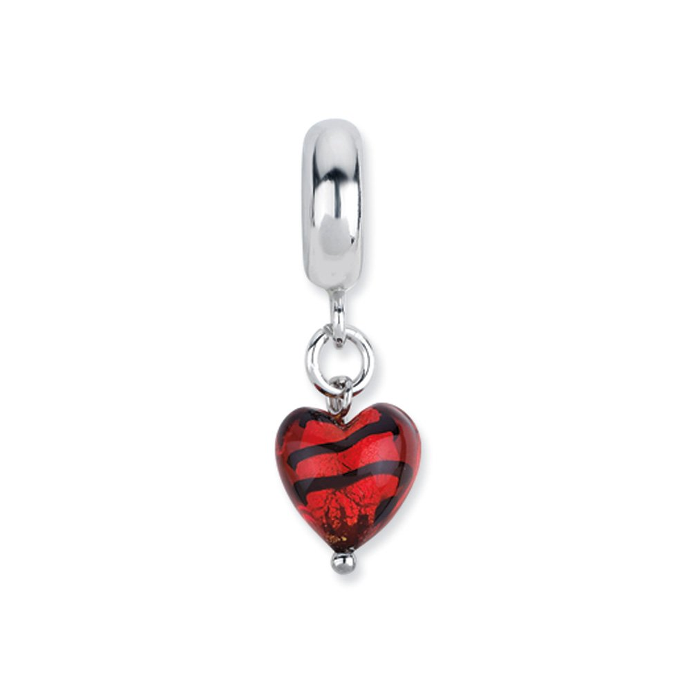 Murano Glass & Sterling Silver Red Striped Heart Dangle Bead Charm