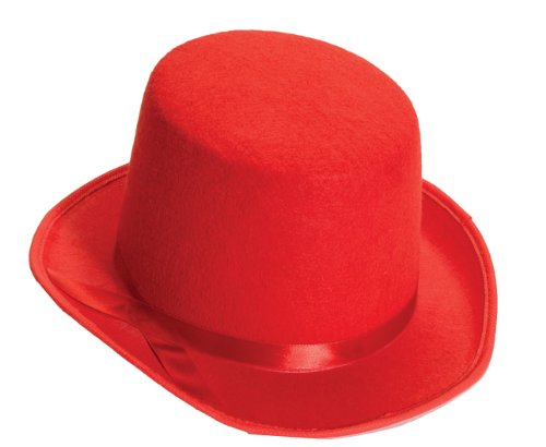 Forum Novelties Men's Deluxe Adult Novelty Top Hat, Red, One Size (Adult Novelty Hats)