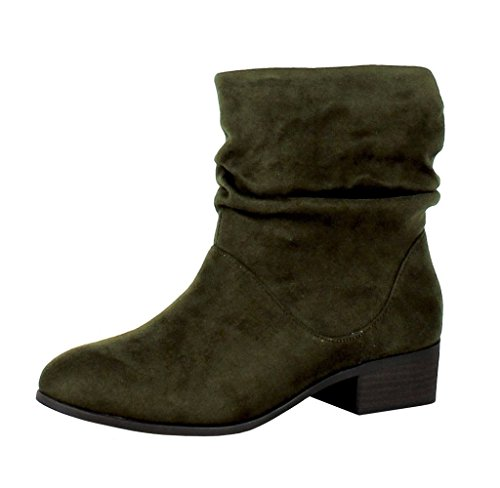 Microsuede Slouchy Boots - Soda Energy Womens Slouchy Pull On Low Block Heel Ankle Booties, Khaki ISU, 7.5
