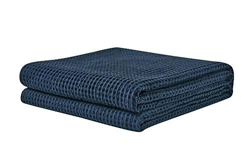 PHF Waffle Weave Blanket for Summer 100% Cotton Twin Size Navy (Cotton Travel Blankets)