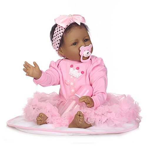iCradle Real Life 22 Inch 55CM Reborn Baby Dolls Soft Silicone Realistic Looking Newborn Dolls Black Skin Princess Girl Indian African Style Baby Doll Toy for Ages 3+