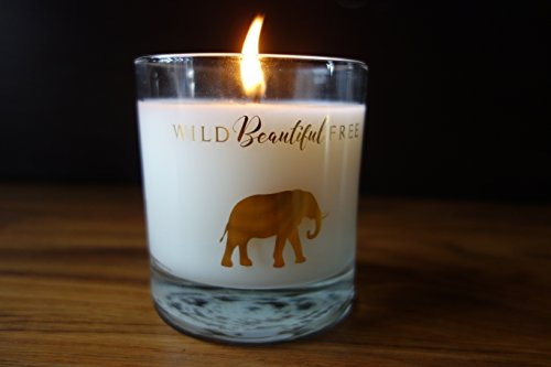 Lavender and Vanilla Organic Aromatherapy Candle with Pure Essential Oils for Stress Relief and Sleep - Dream Elephant Luxury Candle by Wild Beautiful Free - incensecentral.us