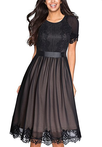 Tuliplazza Women's Vintage Crew Neck Lace Party Casual Aline Cocktail Dress