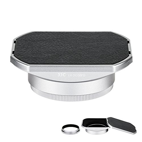 Camera Lens Hood JJC Lens Shade Set for Fuji Fujifilm X100F X100T X100S X100 X 70 Replaces Fujifilm LH-X100 AR-X100 Hood with a Hood Cap & Adapter Ring -Silver by JJC
