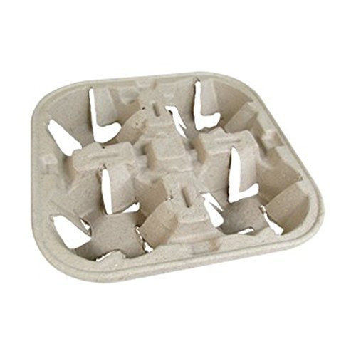 Biodegradable 4-Cup Carrier - Set of 180 - Hot Drinks Cup Holder for Takeaway Coffee Cups