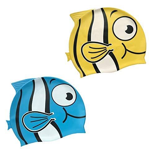 Kids Swim Cap,2 Pack Fun Fish Swimming Cap for Kids & Toddlers,High Elastic Silicone Waterproof Swim Cap for Children, Boys, Girls Age 3-12,Lovely Cute Cartoon Style Swim Hat (Yellow/Blue)