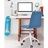 Mainstays Rolling Linen Swivel Chair (Blue)