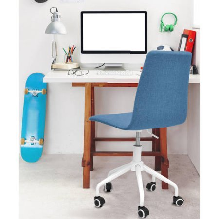 Mainstays Rolling Linen Swivel Chair (Blue) by Mainstay