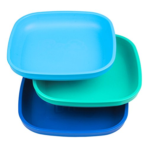 (Re-Play Made in USA 3pk Plates with Deep Sides for Easy Baby, Toddler, Child Feeding - Sky Blue, Aqua, Navy Blue (True Blue))