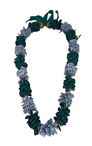 Hawaiian Ribbon Lei, Silver and Teal-Ilima 32 Inch by HawaiiUWT