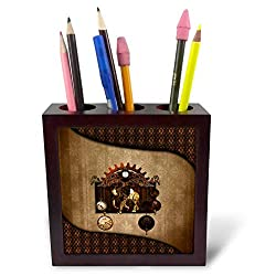 3dRose Heike Köhnen Design Steampunk - Awesome Steampunk Elephant Clocks and Gears - 5 inch Tile Pen Holder (ph_289170_1)