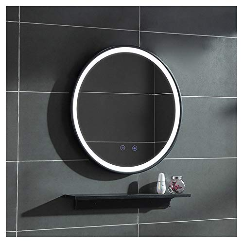 Wall-Mounted Makeup Mirror, Bathroom Mirror with Black Frame, Smart Led Light-Emitting Defog -