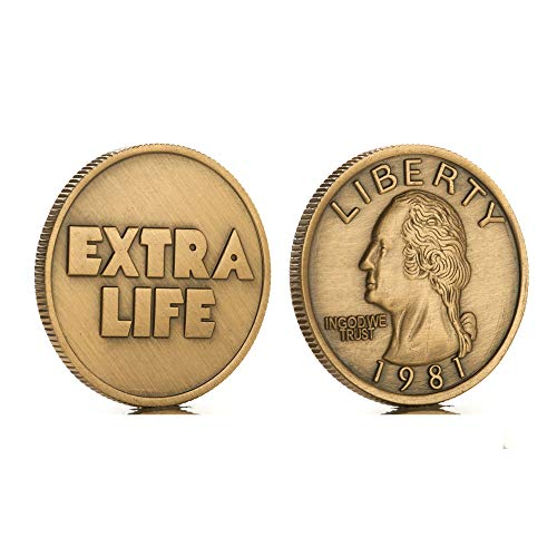Ready Player One Coin Props Replica Extra Life Coin Quarter Challenge Coin Movie Fans Gift Ideas