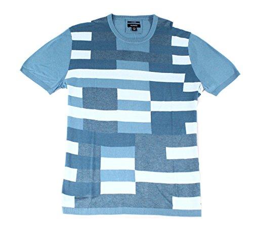 Alfani Men's Silk-Blend Colorblocked Knit Tee-Shirt (Salty Sea, Large)