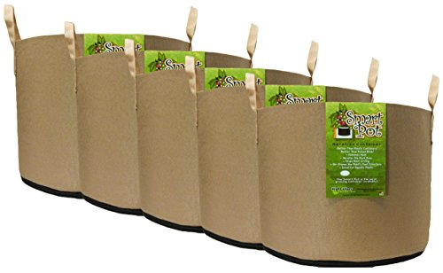 Smart Pot Soft-Sided Fabric Garden Plant Container Aeration Planter Pots with Strap Handles Tan, 20 gallon, 5 Pack by Smart Pot