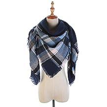 Lightweight Scarf Soft Fashion Warm Plaid Shawl Cape Blanket Scarves (D)