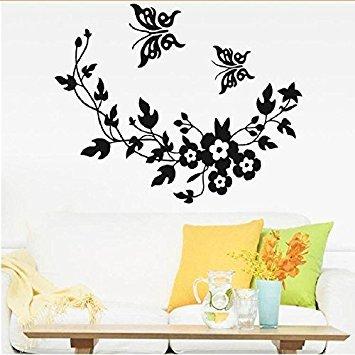 Wallpaper Black Butterfly Flower Wall Stickers Decal Home Decoration Removable Mural DIY Decor by ASTrade