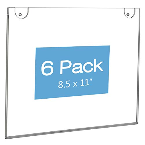 NIUBEE Acrylic Sign Holder 8.5x11 Horizontal,Clear Plastic Picture Frames for Paper, Bonus with 3M Tape and Mounting Screws(6 Pack) ()