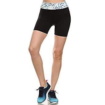 Shosho Women's ASH15N307 Active Wear Shorts Foldover Waist Band,BLACK,S/M
