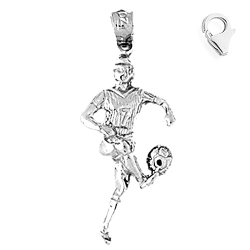 Jewels Obsession Soccer Player Charm | 14K White Gold Soccer Player Charm Pendant - - Soccer Player 14k