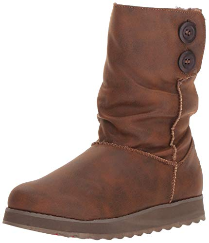 Skechers Women's Keepsakes 2.0 - Big Button Slouch Mid Boot Fashion, Chocolate, 8 M US -