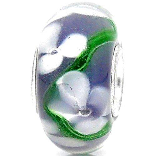 Charm Buddy Lilac Purple White Flowers Single Core Glass Charms Bead Fit Pandora Style Bracelets