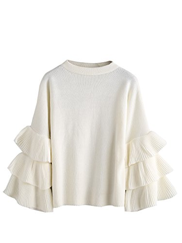 - MAKEMECHIC Women's Layered Ruffle Sleeve Pullover Sweater White one-Size