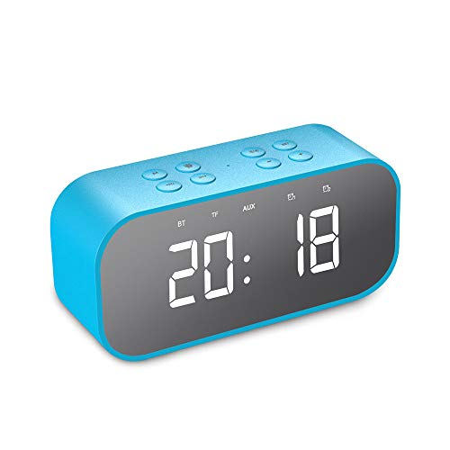 AJIUHE 丨丨Bluetooth Digital Alarm Clock,5.0 Stereo Speaker LED Mirror AUX TF Music Player,Snooze Sleep Timer Dimmer USB, Wireless Speaker for Bedroom Widely Compatible Model