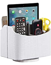 Remote Control Holder Spinning Leather Remote Caddy for End Coffee Bedside Table Nightstand