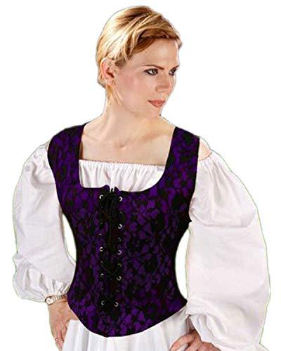 Pirate Wench Peasant Renaissance Medieval Costume Corset Bodice (X - Large, Blue) - Bodice Pirate