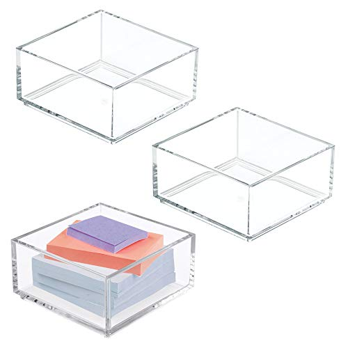 mDesign Stackable Office Supply Plastic Drawer and Desktop Storage Organizers for Sticky Notes, Paper Clips - Pack of 3, Clear - Office Paper Clip Holder
