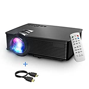Mpow LCD Proyector, 1200 Lúmenes LED Mini Proyector Portátil Multimedia Cine en Casa con USB SD HDMI VGA para TV, Videojuegos, Películas, Partidos