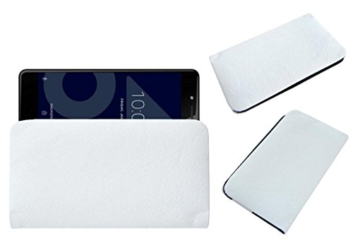 Acm Rich Soft Handpouch Carry Case Compatible with Tenor 10.Or E Mobile Leather Cover White