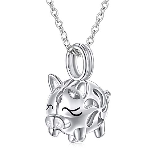 - 925 Sterling Silver Filigree Cute Pig Cage Locket Pendant Necklace for Women Girls, 18 inch (Pig Cage Locket Necklace)