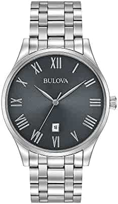 51fe4d92a Bulova Men's 40mm Classic Black Dial Stainless Steel Bracelet Watch