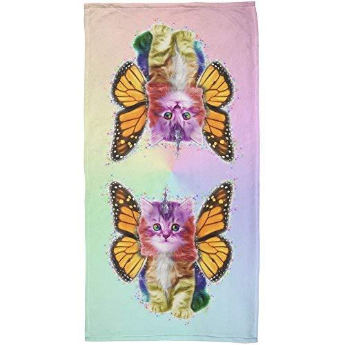Rainbow Butterfly Unicorn Kittens All Over Beach Towel [並行輸入品] B07RGFKG7T
