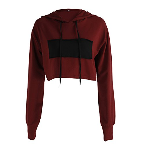 Hollicy Solid Color Casual Long Sleeve Hooded Crop Top Hoodies Short Sweaters  S  Ms764